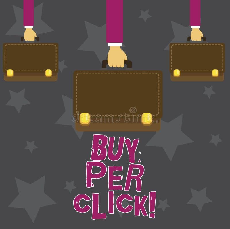 Handskrifttextköp per klick Moderna teknologier för begreppsbetydelseonline-inhandla ecommerce som shoppar vektor illustrationer