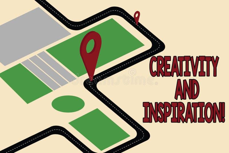 Handskrifttextkreativitet och inspiration Begreppet som betyder van vid strategi, gör beslut och vårdar idéfärdplannavigering royaltyfri illustrationer