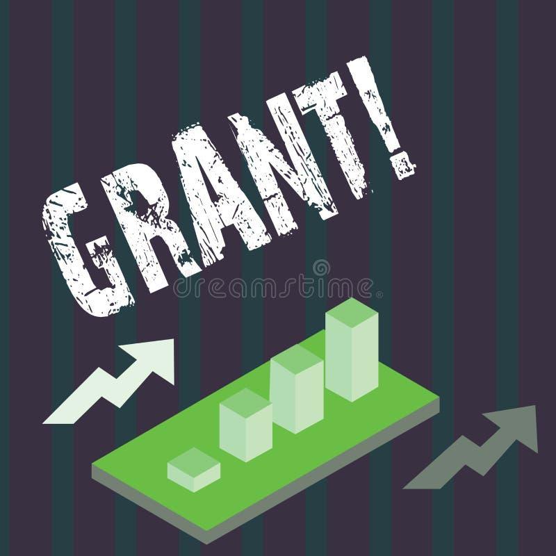 Handskrifttextlån Begrepp som betyder pengar som ges av en organisation eller en regering för ett avsiktstipendium stock illustrationer