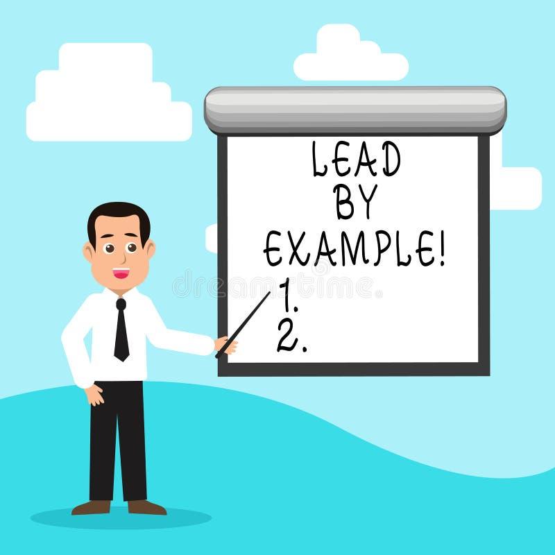 Handskrifttextledning vid exempel Begrepp som betyder organisation för ledarskapledningmentor royaltyfri illustrationer