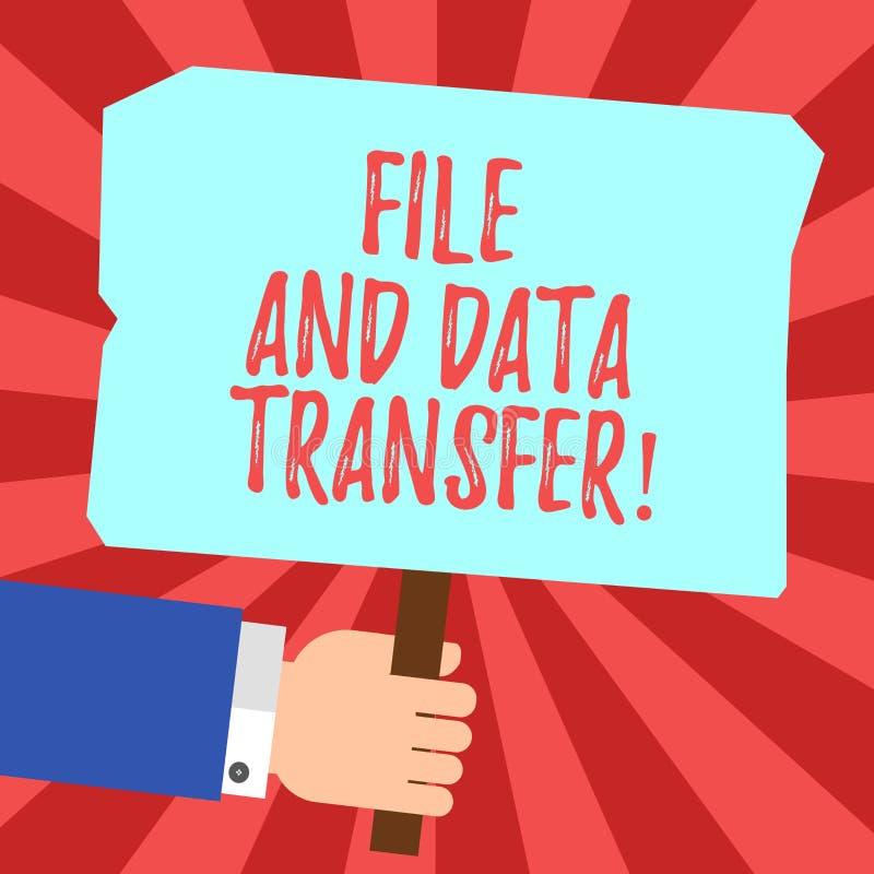 Handskrifttextmapp och dataöverföring Överförande information om begreppsbetydelse direktanslutet vid den internetHu analysen royaltyfri illustrationer