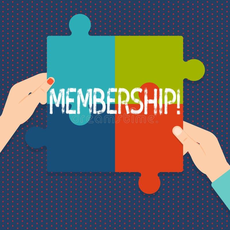 Handskrifttextmedlemskap Begreppsbetydelsen som den är medlemdelen av en grupp eller laget, sammanfogar en organisation stock illustrationer