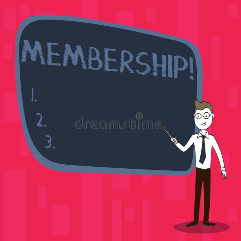 Handskrifttextmedlemskap Begreppsbetydelsen som den är medlemdelen av en grupp eller laget, sammanfogar en organisation royaltyfri illustrationer
