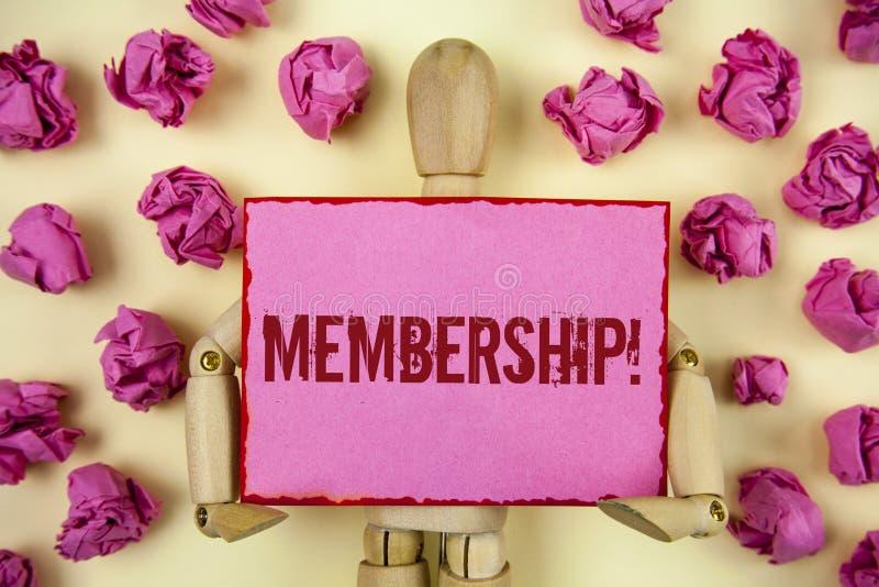 Handskrifttextmedlemskap Begreppsbetydelsen som den är medlemdelen av en grupp eller laget, sammanfogar organisationsföretaget so arkivfoto