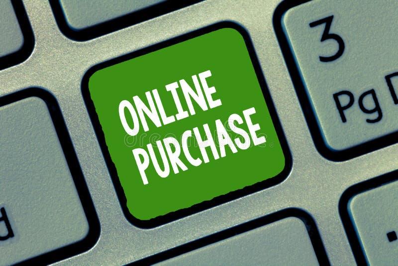 Handskrifttextonline-köp Begreppsbetydelsen inhandlar gods för elektronisk kommers från över internet arkivbilder