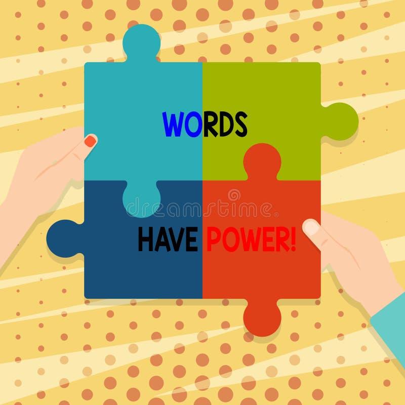 Handskrifttextord har makt Begreppsbetydelse, som de har kapacitet att hjälpa att läka men eller skada någon mellanrum fyra royaltyfri illustrationer