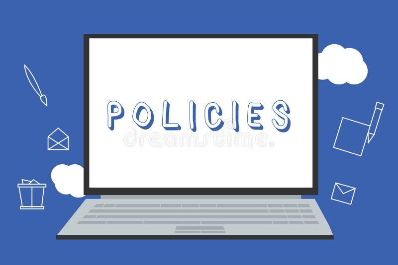 Handskrifttextpolitik Begreppsbetydelsekurs eller princip av handling som adopteras eller föreslås av organisation royaltyfri illustrationer