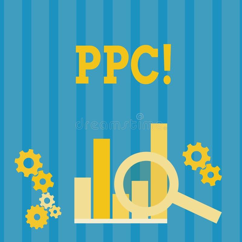HandskrifttextPpc Begrepp som betyder lön per klicken som annonserar direkt trafik för strategier till Websites stock illustrationer