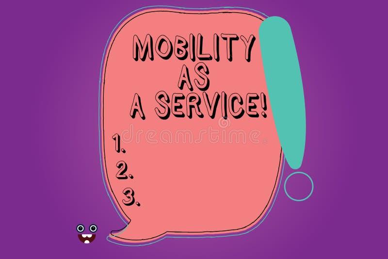 Handskrifttextrörlighet som en service Anförande för färg för online-för teknologier för begreppsbetydelsemobil service för hjälp royaltyfri illustrationer