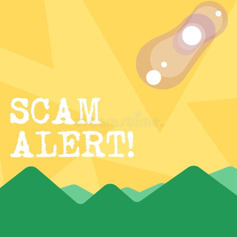HandskrifttextScam varning Begrepp som fraudulently betyder att erhålla pengar från offer, genom att övertala honom sikt av färgr vektor illustrationer