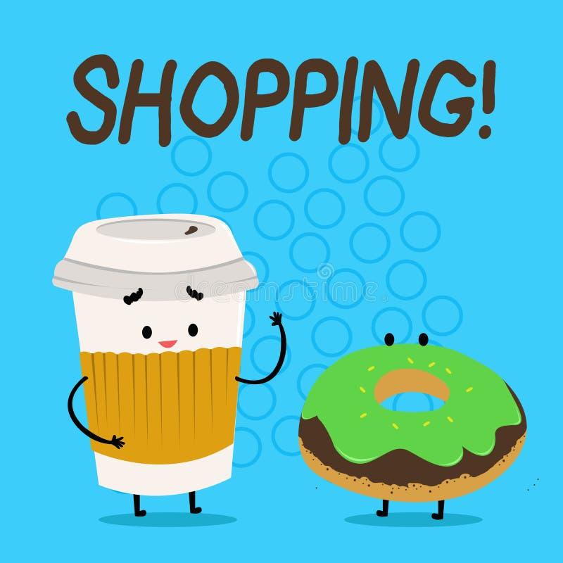 Handskrifttextshopping Erfarenhet Carry Out Paper Cup för lager för produkter för gods för köp för kund för begreppsbetydelseshop stock illustrationer