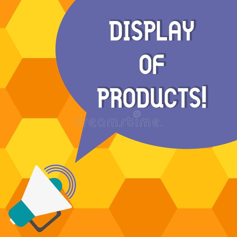 Handskrifttextskärm av produkter Begreppsbetydelseväg att tilldra och locka köpande allmänhet som använder showmegafonen med royaltyfri illustrationer