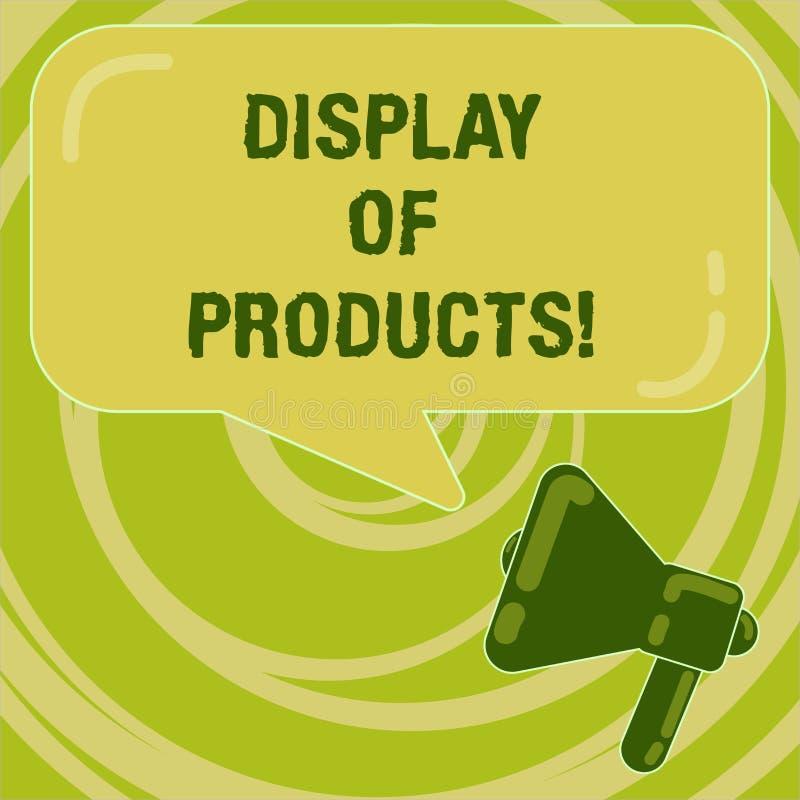 Handskrifttextskärm av produkter Begreppsbetydelseväg att tilldra och locka köpande allmänhet som använder showmegafonfotoet vektor illustrationer