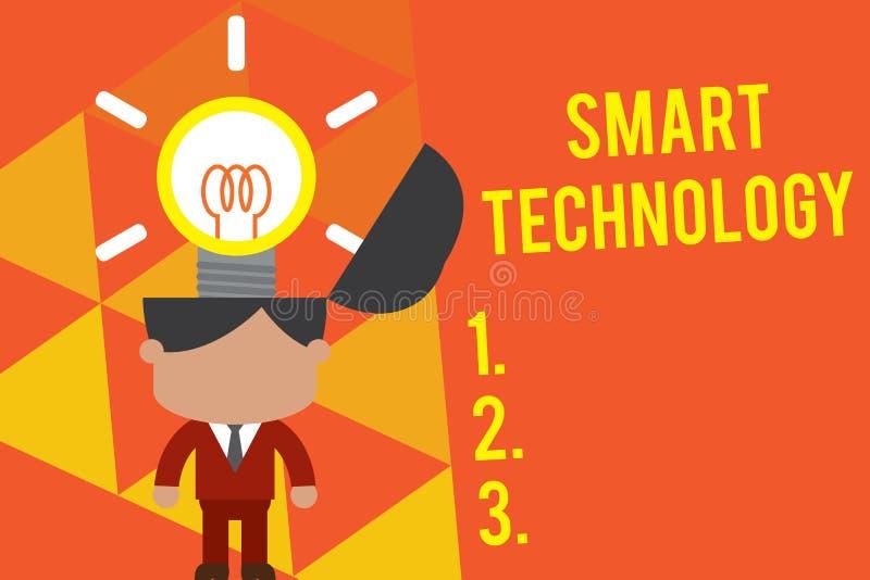 HandskrifttextSmart teknologi Begrepp som betyder grejer eller apparaten som har som byggs i dator- eller chipanseende vektor illustrationer