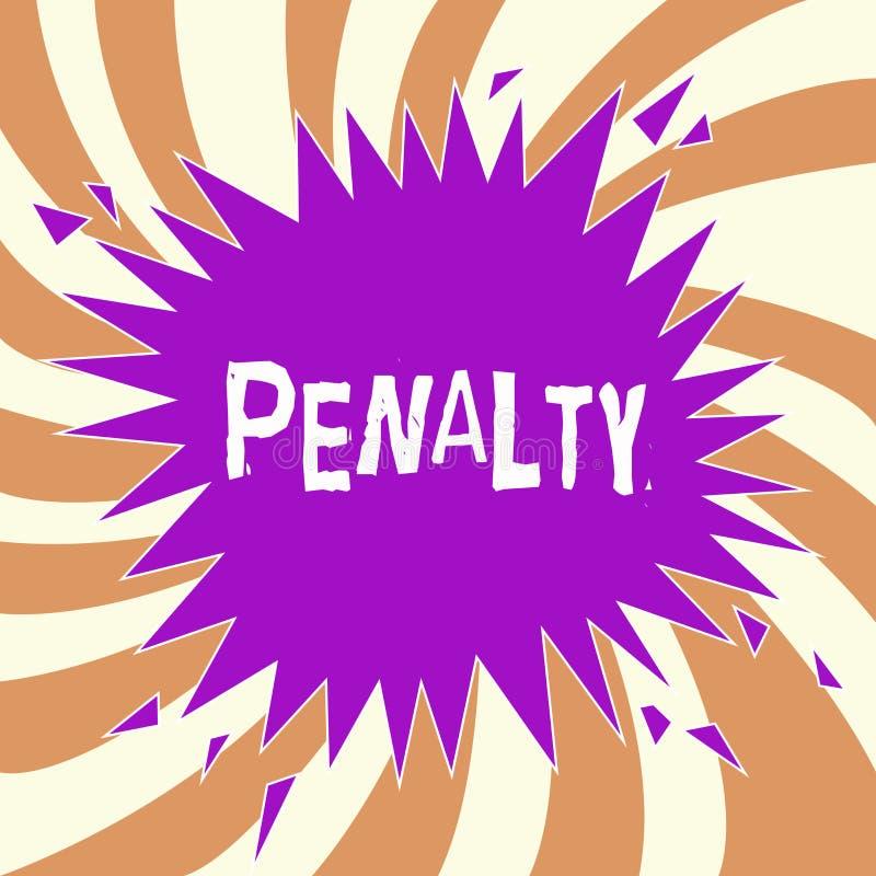 Handskrifttextstraff Menande bestraffning för begrepp som läggs på för avbrott av ett uttryck för lagregel- eller avtalssportar stock illustrationer