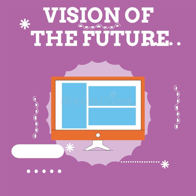 Handskrifttextvision av framtiden Begreppsbetydelse som ser något framåt en klar handbok av handling vektor illustrationer