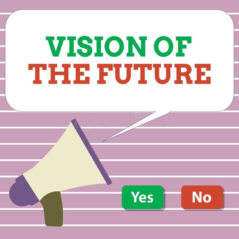 Handskrifttextvision av framtiden Begreppsbetydelse som ser något framåt en klar handbok av handling royaltyfri illustrationer