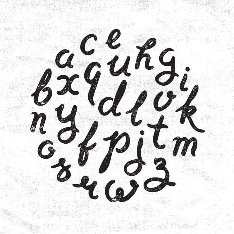 Handskriven alfabetuppsättning royaltyfri illustrationer