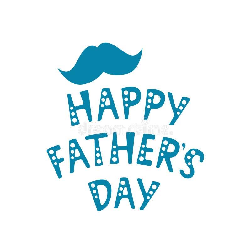 Handskriven bokstäver av den lyckliga dagen för fader` s på vit bakgrund stock illustrationer