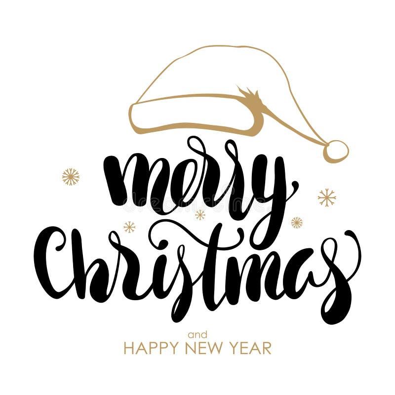 Handskriven bokstäver av glad jul och lyckligt nytt år med den hand drog hatten av Santa Claus på vit bakgrund stock illustrationer