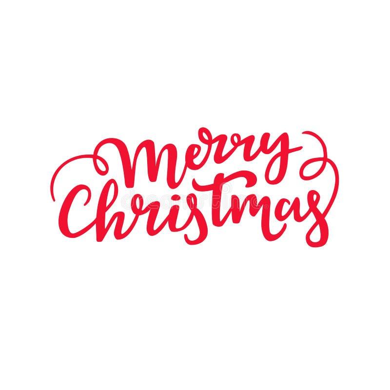 Handskriven bokstäver för glad jul Dekorativ design för kursiv skrift Ferietypografi stock illustrationer