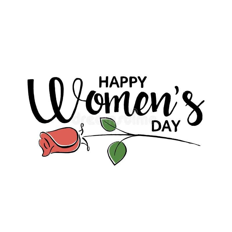 Handskriven bokstäver för lycklig dag för kvinna` s royaltyfri illustrationer