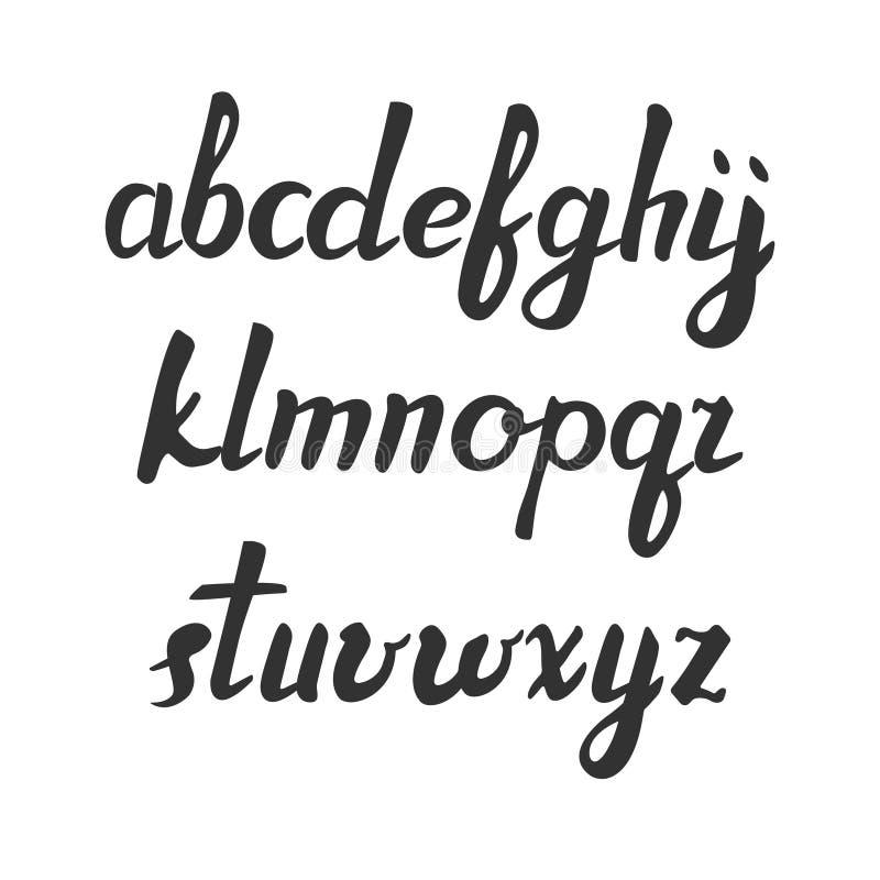 Handskriven borstestilsort för vektor Svarta bokstäver över vit alfabet tecknade handbokstäver moderiktig abc litet vektor illustrationer