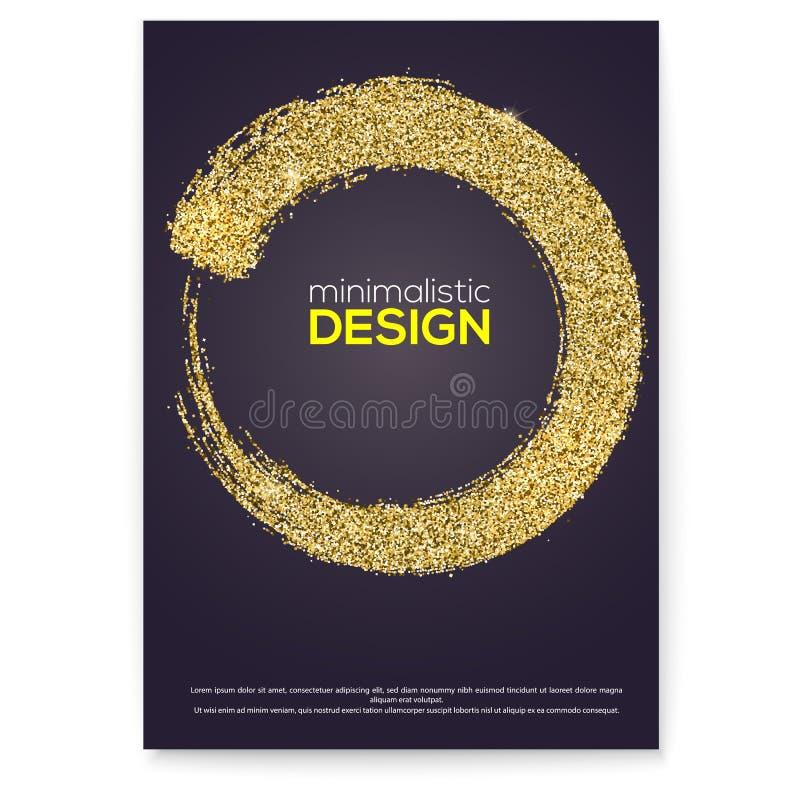 Handskriven cirkel med för målarfärgborste för vektor den guld- slaglängden Rund stämpel på affischen Utdragen cirkel för hand me vektor illustrationer