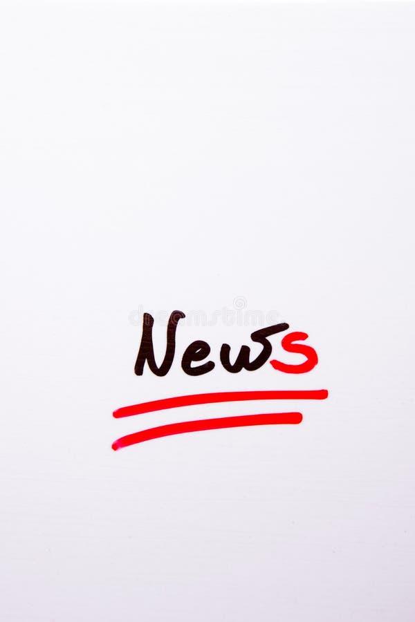 Handskriven ` för ord`-nyheterna på vit bakgrund stock illustrationer
