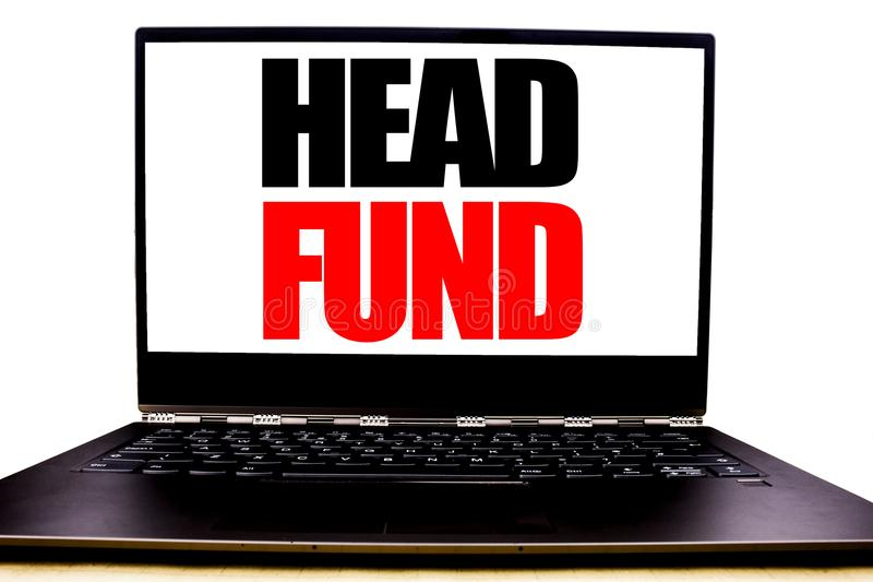Handskriven fond för textvisninghuvud Affärsidéhandstil för investeringfinansieringpengar som är skriftliga på bildskärmframdelsk arkivfoto