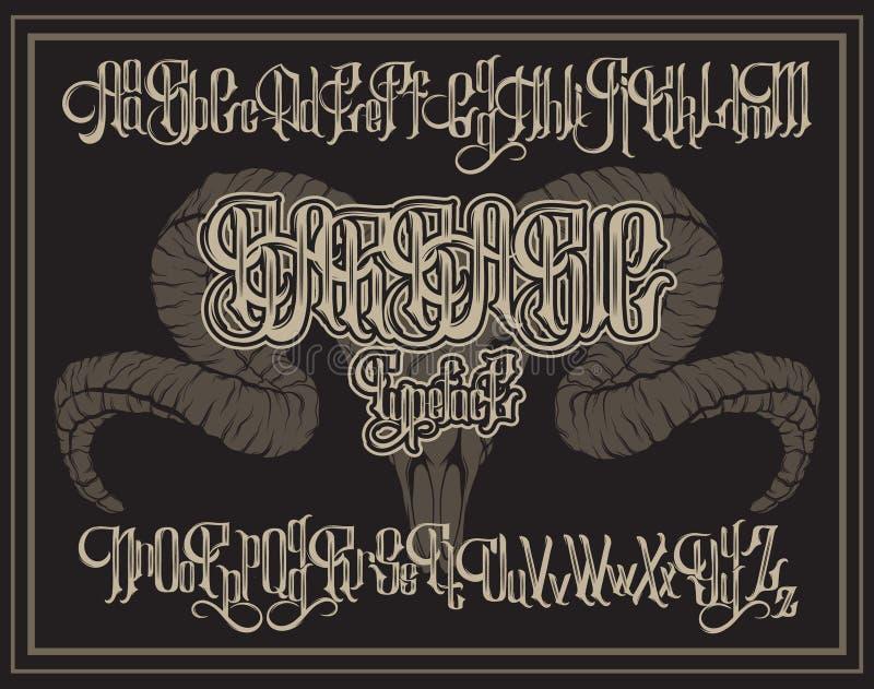Handskriven gotisk stilsort för vektor för unik bokstäver med den hand drog illustrationen av RAMskallen royaltyfri illustrationer