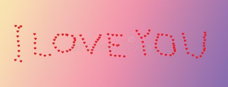 Handskriven hjärta formar ` som JAG ÄLSKAR DIG ` på en rosa purpurfärgad bakgrund för lutning royaltyfri illustrationer