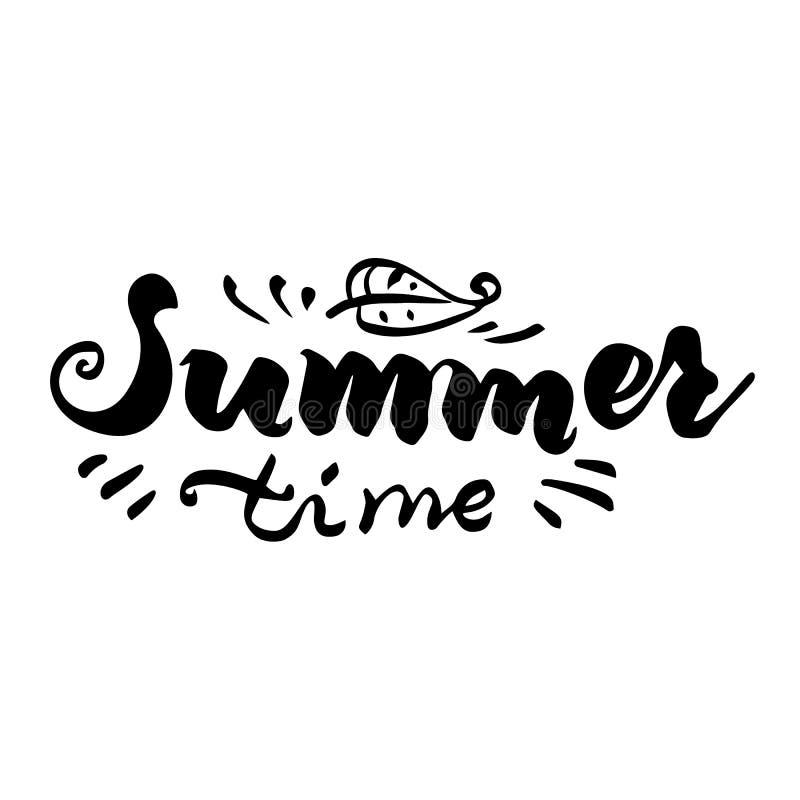 Handskriven inskrift för sommar Märka som är elegant bakgrund isolerad white vektor illustrationer