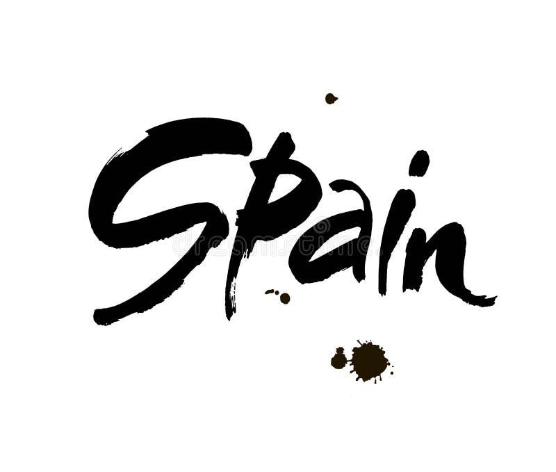 Handskriven inskrift Spanien Hand dragen bokstäver Calligraphic beståndsdel för din design också vektor för coreldrawillustration stock illustrationer