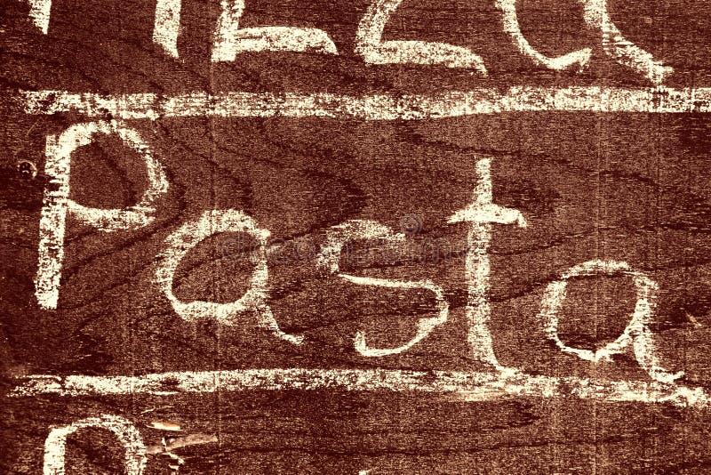 Handskriven inskriftPASTA med krita royaltyfri fotografi
