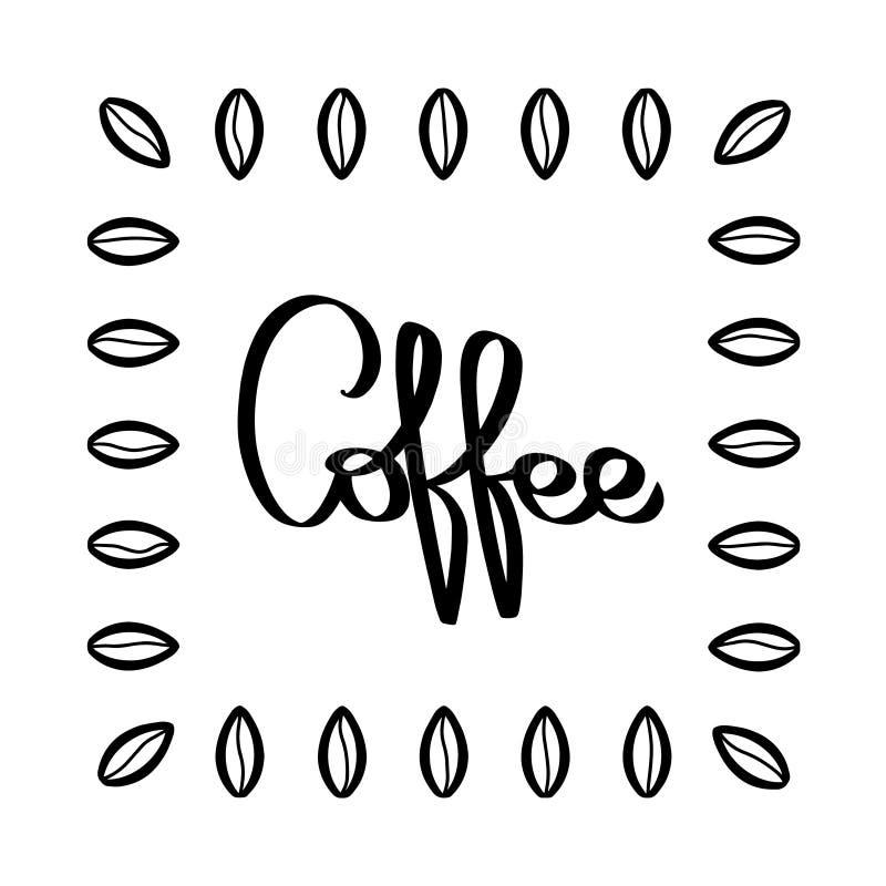 Handskriven kaffemodellvektor Hand drog kaffebönor Svart illustration Bönatextur på vit bakgrund stock illustrationer