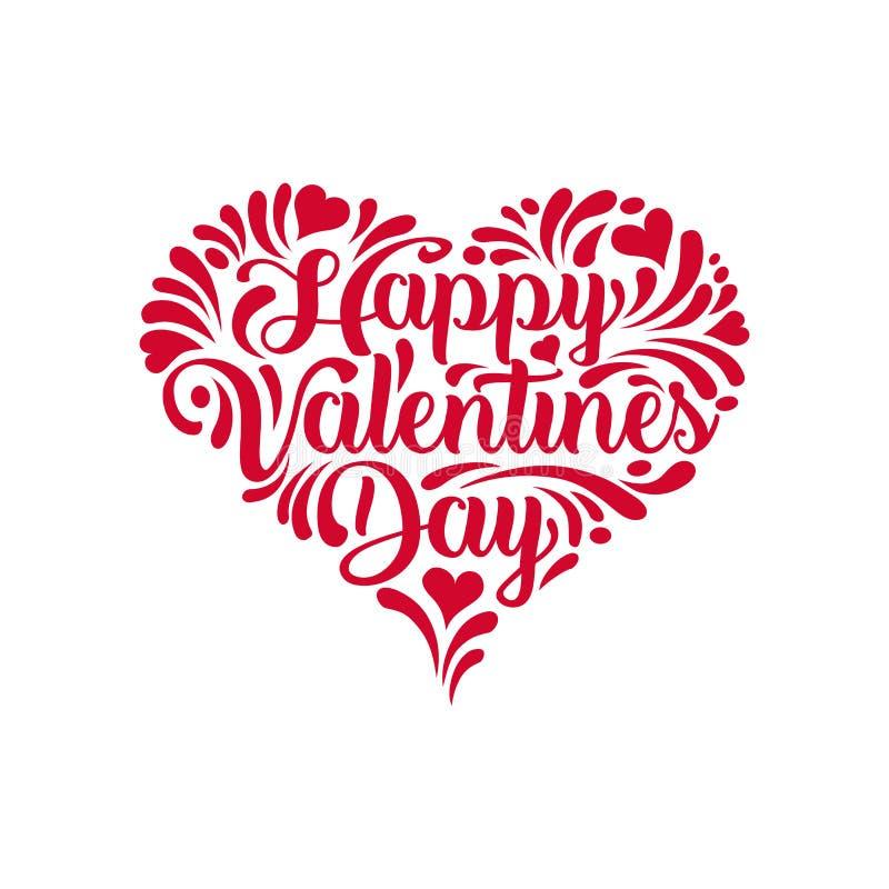 Handskriven kalligrafi för lycklig dag för valentin` s i en hjärtaform royaltyfri illustrationer