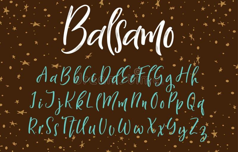 Handskriven kalligrafistilsort alfabetelement som scrapbooking vektorn tecknade handbokstäver royaltyfri illustrationer