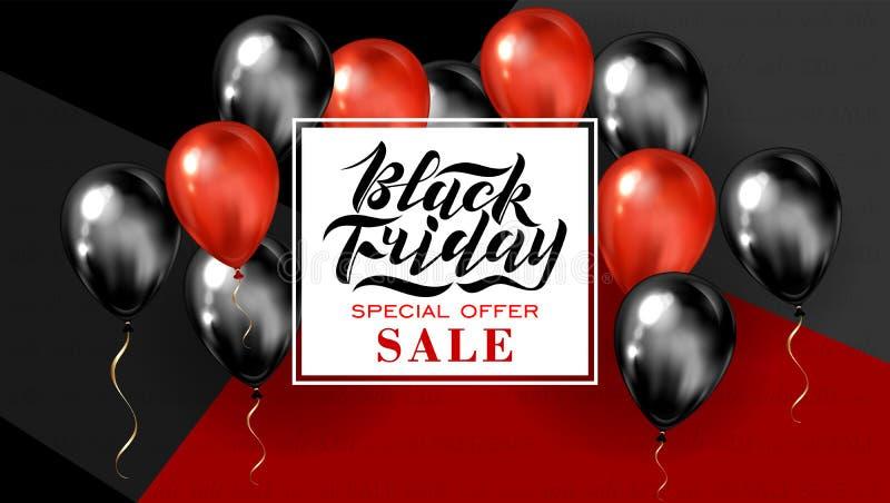 Handskriven modern borstebokstäver för den Black Friday försäljningen på en röd och svart bakgrund med baloons Kall logo för banr vektor illustrationer