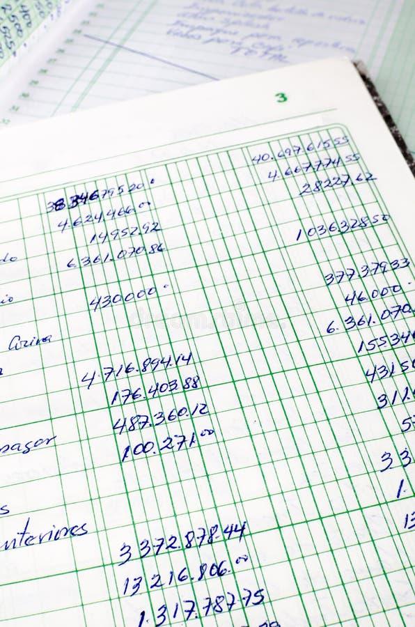 Handskriven redovisning royaltyfria bilder