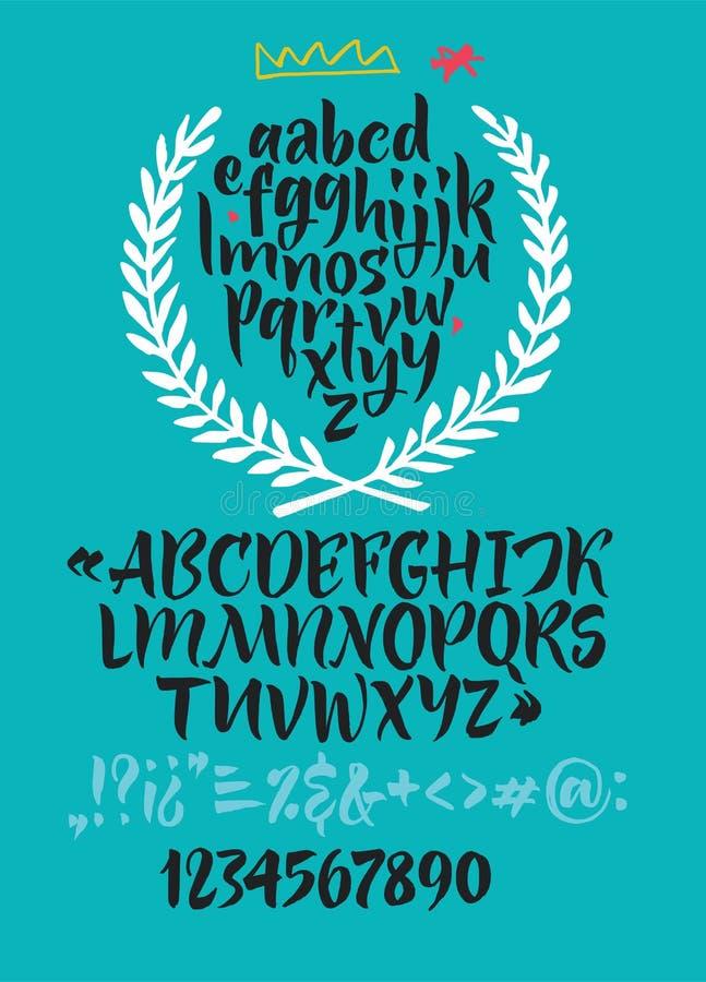 Handskriven skriftstilsort Borstestilsort Litet uppercase, nummer, interpunktion vektor illustrationer