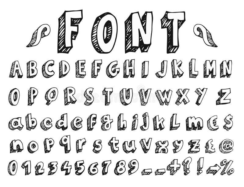 Handskriven stilsort royaltyfri illustrationer