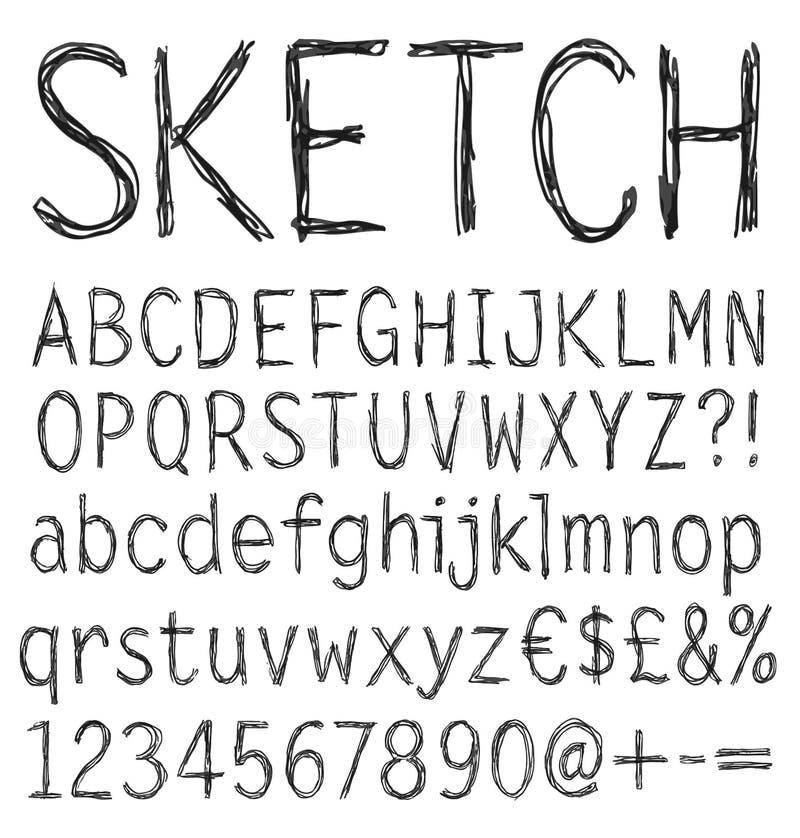 Handskriven stilsort. vektor illustrationer