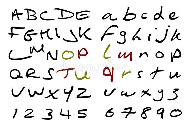 Handskriven stilsort för vektor arkivbilder