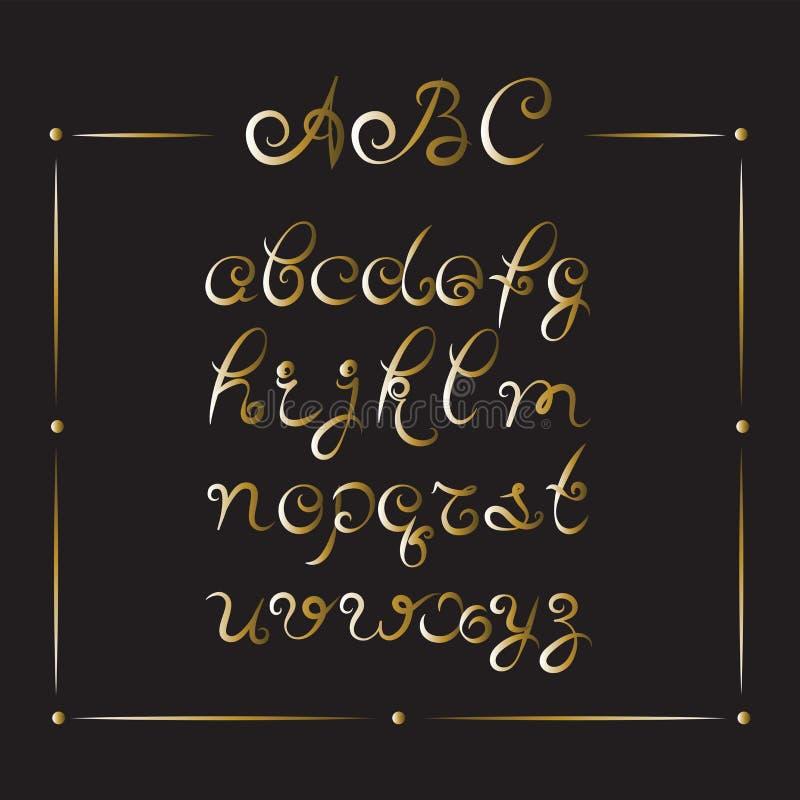 Handskriven stilsort Guld- alfabetbokstäver vektor illustrationer