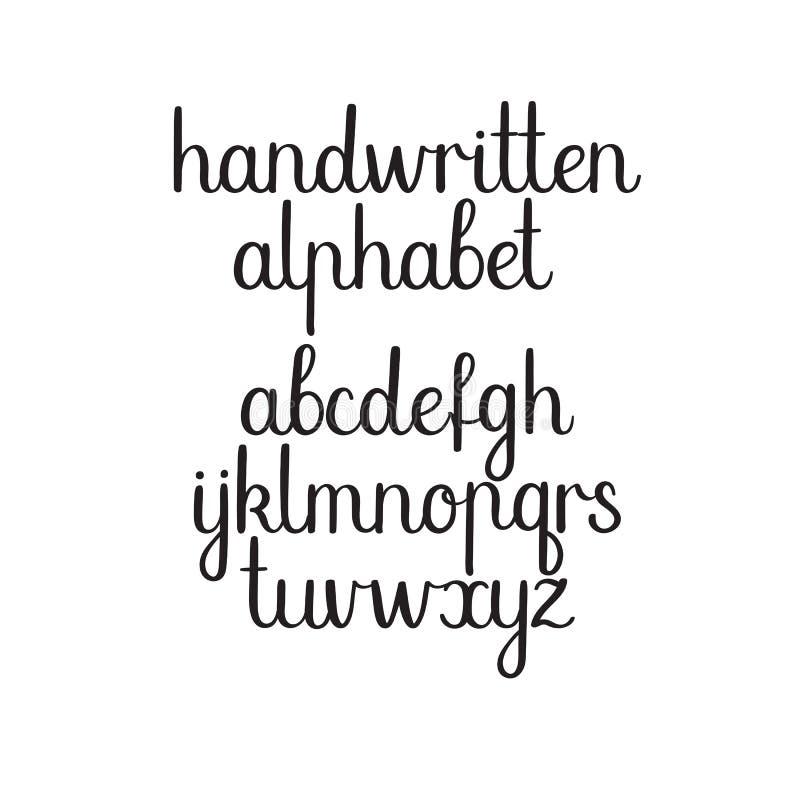 Handskriven stilsort Vektorabc Modernt kalligrafialfabet Handbokstäver vektor illustrationer