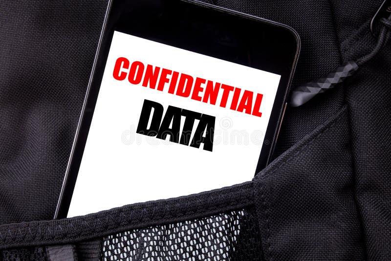 Handskriven text som visar förtroliga data Affärsidéhandstil för den skriftliga telefonmobiltelefonen för hemligt skydd, mobiltel royaltyfria bilder