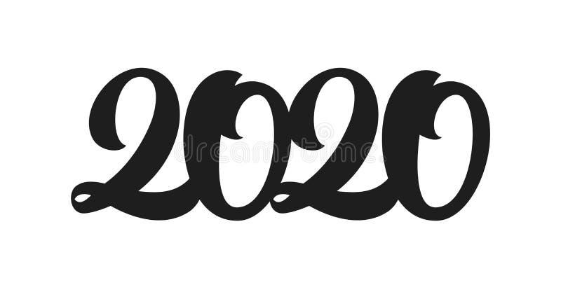Handskriven typbokstäver för 2020 nya år Utdraget nummer för svart hand Typografidesign stock illustrationer