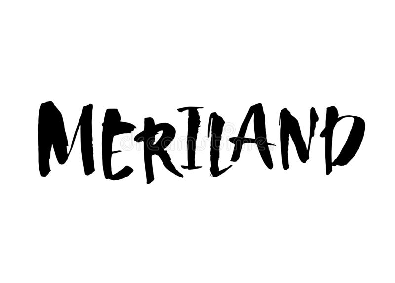 Handskriven U S tillståndsnamn Maryland Calligraphic beståndsdel för din design Modernt borstefärgpulver bakgrund isolerad white  stock illustrationer