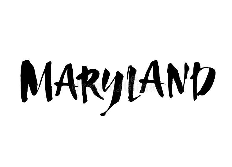 Handskriven U S tillståndsnamn Maryland Calligraphic beståndsdel för din design Modernt borstefärgpulver bakgrund isolerad white  vektor illustrationer